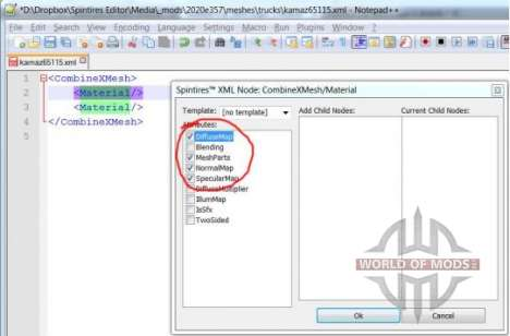 XML de edición de nodo