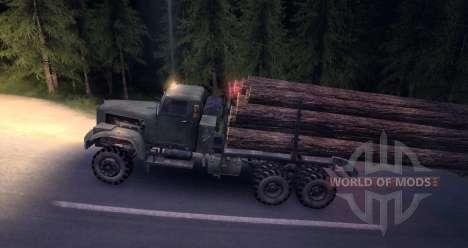 KrAZ nieve madera carro viejo para Spin Tires