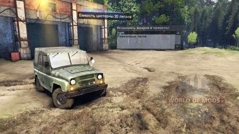 El UAZ-469 con faro-buscador para Spin Tires