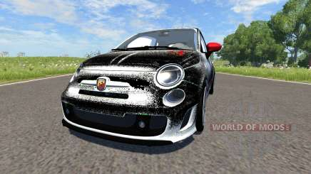 Fiat 500 Abarth White and Black para BeamNG Drive
