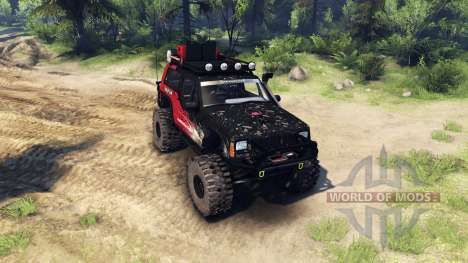 Jeep Cherokee XJ v1.1 Rough Country red dirty para Spin Tires