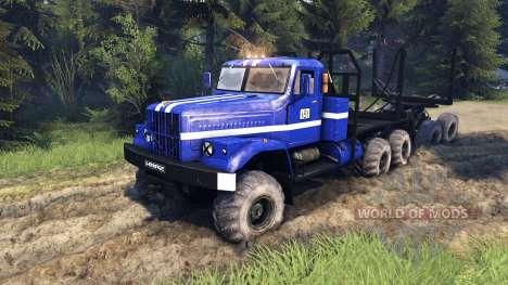 KrAZ-255B en color azul-KrAZ de Alimentación de  para Spin Tires