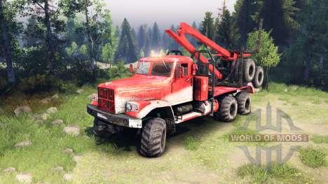KrAZ-255 en el color rojo para Spin Tires