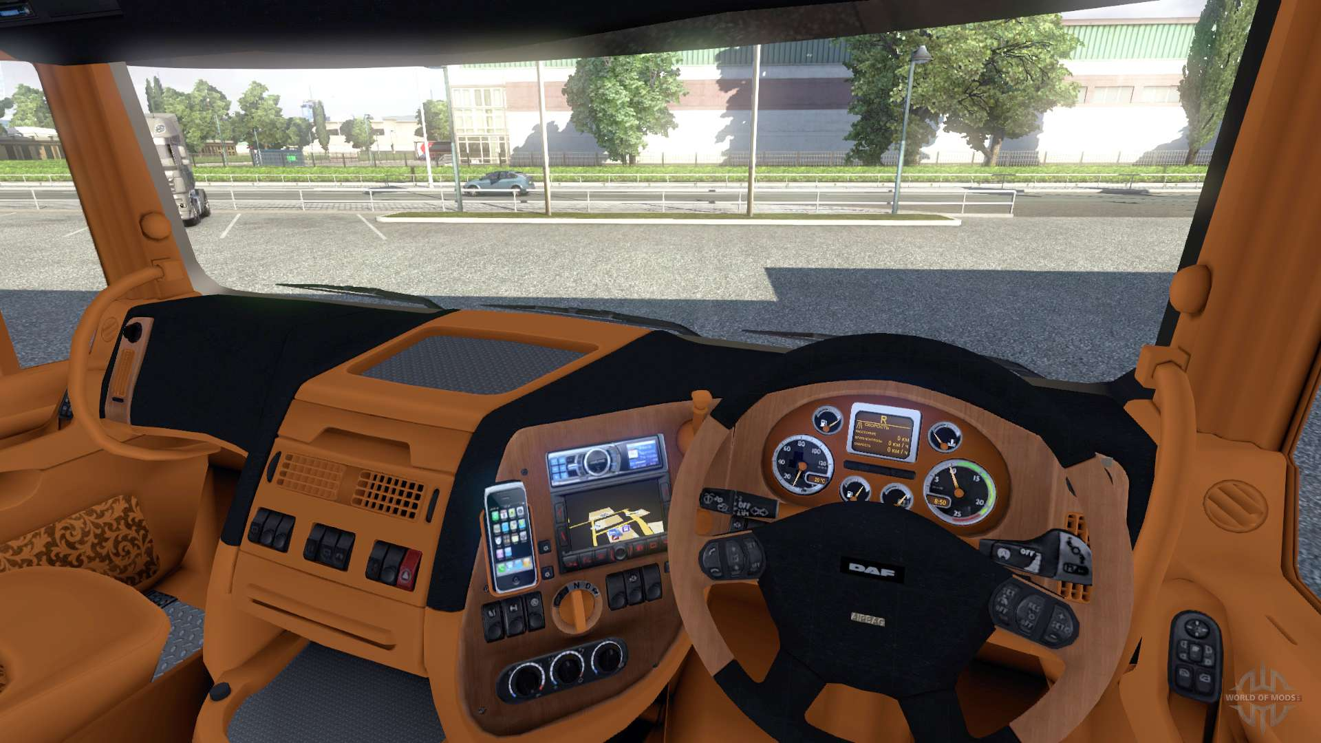 interior para daf rojo y naranja para euro truck simulator 2. Black Bedroom Furniture Sets. Home Design Ideas