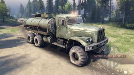 Verde tanque KrAZ-255 v2.0 para Spin Tires