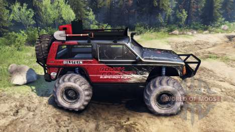Jeep Cherokee XJ v1.3 Rough Country red dirty para Spin Tires