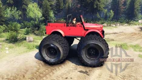 ГАЗ-69М Monstruo Rojo para Spin Tires