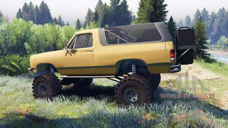 Dodge Ramcharger II 1991 dirty brown para Spin Tires