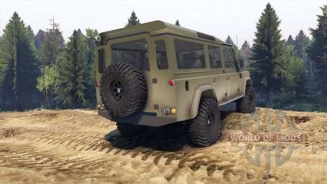Land Rover Defender 110 dirty flat green para Spin Tires