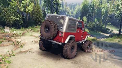 Jeep YJ 1987 maroon para Spin Tires
