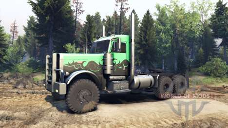 Peterbilt 379 green and black para Spin Tires