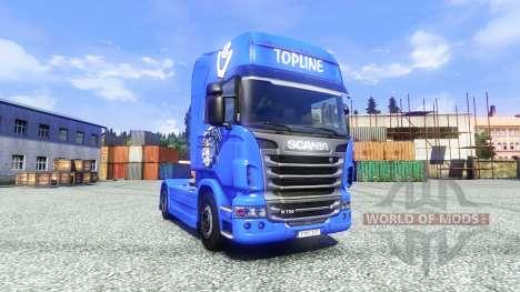 La piel V8 Topline en la unidad tractora Scania para Euro Truck Simulator 2
