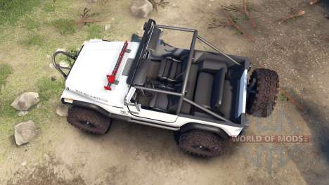 Jeep YJ 1987 Open Top white para Spin Tires