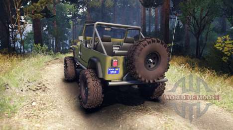 Jeep YJ 1987 Open Top green para Spin Tires