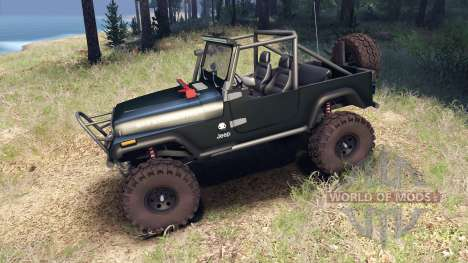 Jeep YJ 1987 Open Top dark green para Spin Tires