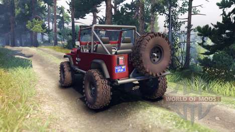 Jeep YJ 1987 Open Top maroon para Spin Tires