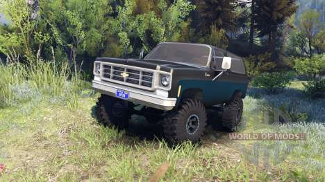 Chevrolet K5 Blazer 1975 black and blue para Spin Tires