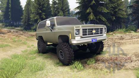 Chevrolet K5 Blazer 1975 army green para Spin Tires