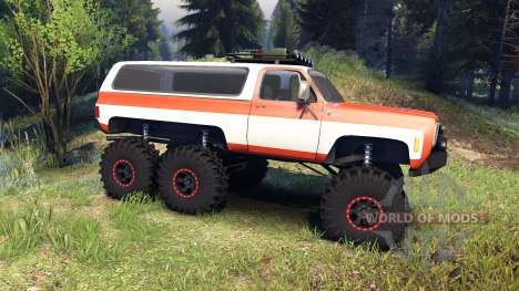 Chevrolet K5 Blazer 1975 6x6 orange and white para Spin Tires