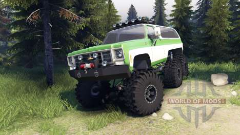 Chevrolet K5 Blazer 1975 6x6 green and white para Spin Tires