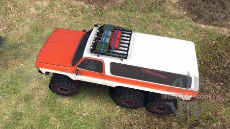Chevrolet K5 Blazer 1975 6x6 orange and white para Spin Tires