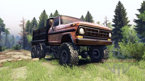 Ford F-100 6x6 v1.1 rusty para Spin Tires