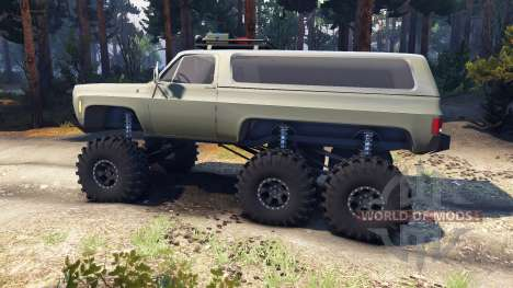 Chevrolet K5 Blazer 1975 Equipped 6x6 army green para Spin Tires