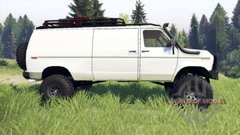 Ford E-350 Econoline 1990 v1.1 white para Spin Tires