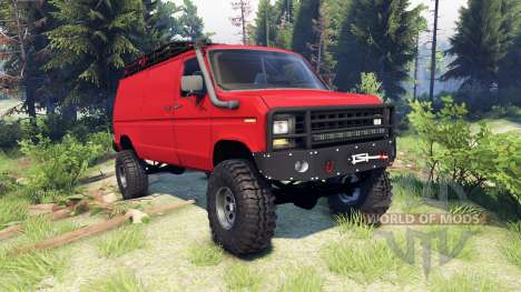 Ford E-350 Econoline 1990 v1.1 red para Spin Tires