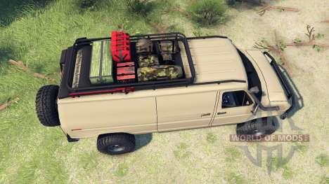 Ford E-350 Econoline 1990 v1.1 tan para Spin Tires