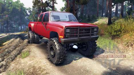 Chevrolet Silverado Dually Crew Cab v1.4 red para Spin Tires