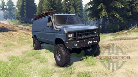 Ford E-350 Econoline 1990 v1.1 blue-gray para Spin Tires