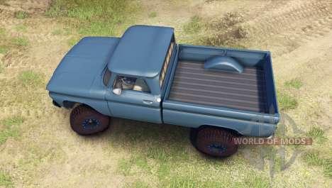 Chevrolet С-10 1966 Personalizado marina azul para Spin Tires