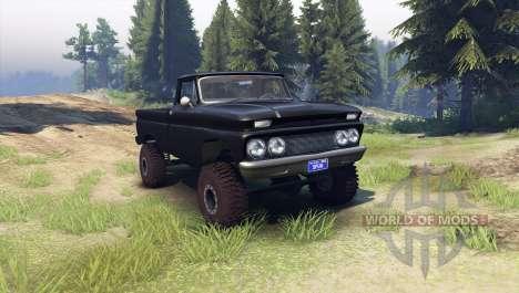 Chevrolet С-10 1966 Personalizado esmoquin negro para Spin Tires