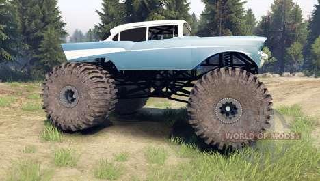 Chevrolet Bel Air 1955 Monster blue para Spin Tires