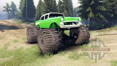 Chevrolet Bel Air 1955 Monster green para Spin Tires