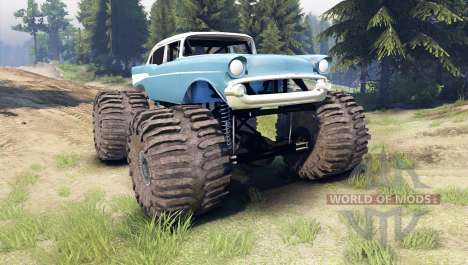 Chevrolet Bel Air 1955 Monster blue para Spin Tires