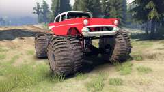 Chevrolet Bel Air 1955 Monster red para Spin Tires
