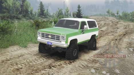 Chevrolet K5 Blazer 1975 [green and white] para Spin Tires