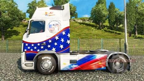 La piel de las Estrellas & Rayas en un Volvo para Euro Truck Simulator 2