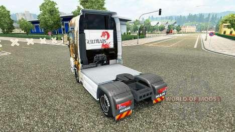 La piel de Guild Wars 2 en el camión MAN para Euro Truck Simulator 2