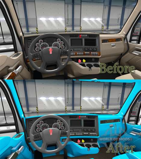 Azul Kenworth T680 interior para American Truck Simulator