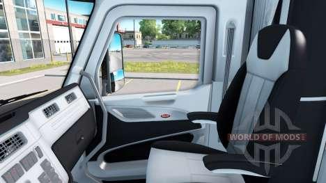 Interior en blanco y negro en un Peterbilt 579 para American Truck Simulator