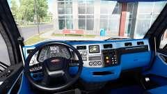 Negro y azul, interior en un Peterbilt 579