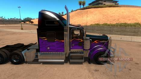 Kenworth W900 Dark Night paintjob para American Truck Simulator