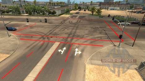Rojo de las marcas viales para American Truck Simulator
