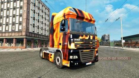 La piel de Incendio en el camión DAF para Euro Truck Simulator 2