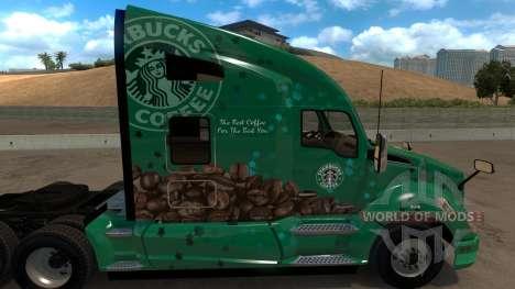 Kenworth T680 Starbucks Skin para American Truck Simulator