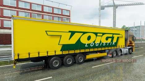 Voigt Logística skin v1.2 on the trailer para Euro Truck Simulator 2