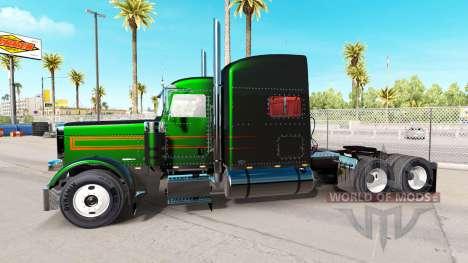 La piel es de color Negro Metálico Rayas en el P para American Truck Simulator